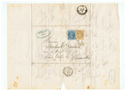 LETTRE ITINERAIRE POSTAL AFIN D' EVITER L'ARMEE PRUSSIENNE  DEPART LILLE Pour BRUXELLES 04 JANVIER 1871 - Marcophilie (Lettres)