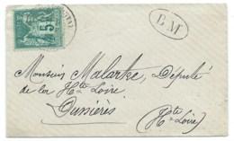 5c SAGE SUR ENVELOPPE /  POUR DUNIERES HAUTE LOIRE / 1882 / BM BOITE MOBILE - Marcophilie (Lettres)