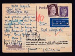 """1944 - 6 Pf. Ganzsache Per Luftpost Ab Wien Nach Rumänien - Aufkleber """"Zurück An Den Absender..."""" - Guerre Mondiale (Seconde)"""
