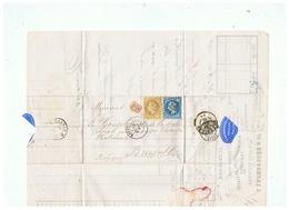 LETTRE J. LACHAUSSEE & Cie Seur De FRANCOIS DATS & Cie à ROUEN Pour  BRUXELLES 1869 - Marcophilie (Lettres)