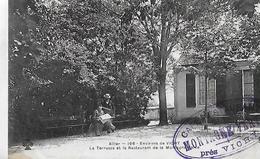 Vichy. La Terrasse Et Le Restaurant De La Montagne Verte, Tampon Bleu De L'établissement . - Vichy