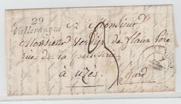 """GARD - """" 29 / Valleraugue """" Cursive + LE VIGAN CàD 13 + TM 3 / LAC De 1832 Pour Uzès - Storia Postale"""