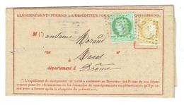 26 DROME MORAS Avis N° 103 Complet Affranchi 15 C Et 5 C Cérès TAD 16 Du 13/03/1874 TB - Marcophilie (Lettres)