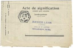 Agence Postale SCHARRACHBERGHEIM Cachet Hexagonal Perlé Type F4 En Franchise - 12.2.1946 - Marcophilie (Lettres)