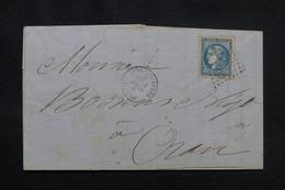 FRANCE / ALGERIE - Lettre De Sidi Bel Abbes Pour Oran En 1871, Affranchissement Bordeaux 20ct - L 54351 - Poststempel (Briefe)