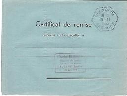 Agence Postale WOLXHEIM Cachet Hexagonal Perlé Type F7 En Franchise - 19.11.1963 - Marcophilie (Lettres)