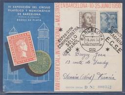 = Carte Postale Espagne Exposition Du Cercle Philatélique Et Numismatique De Barcelone 18 Juin 1950 Avec 2 Timbres - 1931-50 Covers