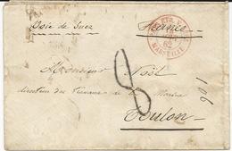 LETTRE 1862 AVEC CACHET D'ENTREE MARITIME ROUGE PAYS ETR. V. SUEZ MARSEILLE - Marcophilie (Lettres)