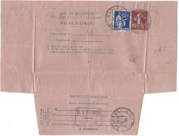 Avis De Réception SAVERNE 28.6.1938 - Paix 65c + Semeuse 15c - Postmark Collection (Covers)