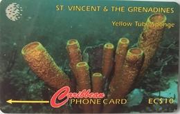 St. VINCENT § LES GRENADINES  -  Phonecard -  Cable %  Wireless  - Yellow Tubes Sponge -  EC$10 - St. Vincent & The Grenadines