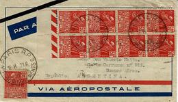 1931- Enveloppe Par Avion Aeropostale De Paris R.P Affranchissements à Buenos Aires -superbe Affr. à 10,50 Dont N°272 X9 - Postmark Collection (Covers)