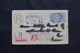 SINGAPOUR - Entier Postal En Recommandé AR Pour Paris En 1901 , Affranchissement Plaisant  - L 54357 - Singapore (...-1959)