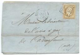 N° 21 BISTRE NAPOLEON SUR LETTRE / CARCASSONNE POUR CARCASSONNE / 1865 / FACTURE A ENTETE - Marcophilie (Lettres)