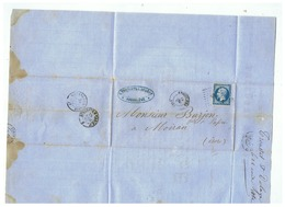 LETTRE AVEC TIMBRE VARIETE  TOILES METALLIQUES AUGUSTE TROUSSET ANGOULEME Pour MOIRAN (ISERE) 1862 - Marcophilie (Lettres)