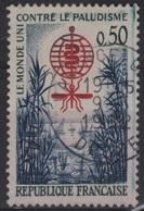 SAN 20 - FRANCE N° 1338d Obl. Lutte Contre Le Paludisme VARIETE D'essuyage Trainées Bleues - Errors & Oddities