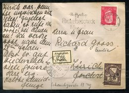 """5727 - DEUTSCHES REICH - PK Mit EF Der Mi.414 > Schweiz, Aufkleber """"Abgereist"""" Und Gebührenmarke Zürich 50 Rappen - Germania"""