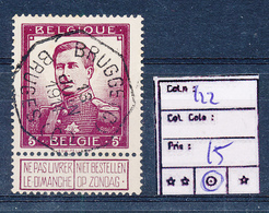 BELGIUM BELGIQUE  COB 122 USED - 1912 Pellens