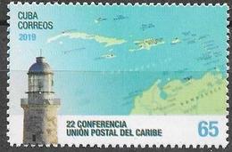 CARIBBEAN POSTAL UNION, 2019, MNH, LIGHTHOUSES, MAPS, 1v - Leuchttürme
