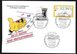 Germany Cover 1993 New Zip Codes Postleitzahlen Berlin (G107-41A) - Correo Postal