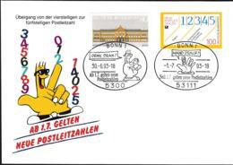 Germany Cover 1993 New Zip Codes Postleitzahlen Bonn (G107-41A) - Correo Postal
