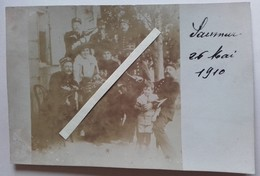 1910 Saumur Policiers Gendarmes Apéritif Bar Guinguette Poilu Tranchée 14 18 WW1 Carte Photo - Guerra, Militares