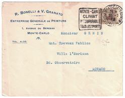 "1929 - DAGUIN "" MONTE-CARLO CLIMAT INCOMPARABLE TOUS LES SPORTS "" Sur LETTRE BONELLI GRANATO AVENUE BERCEAU MONACO - Monaco"