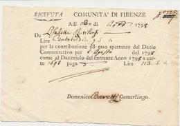 1798 FIRENZE RICEVUTA PAGAMENTO DAZI AL DAZZAIOLO - Vecchi Documenti