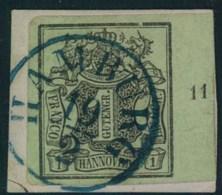 """1851, ! Ggr. Kabinettbriefstück Mit Randziffer """"11"""" - Hanovre"""