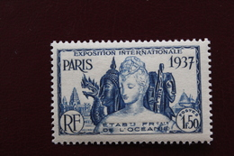 OCEANIE , ETABts  FRANCAIS DE L'OCEANIE 1937 EXPO INTERNATIONALE DE PARIS Y&T NO 126, 1f.50 BLEU..NEUF * TB... - New Caledonia