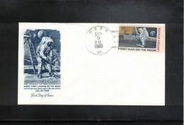 USA 1969 Space / Raumfahrt Apollo 11 First Man On The Moon Interesting Cover With Moon Postmark - Raumfahrt