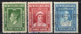 NEWFOUNDLAND - 1938 - EFFIGIE DEL RE GIORGIO VI, DELLA REGINA ELISABETTA E DELLA PRINCIPESSA ELISABETTA - USATI - Newfoundland