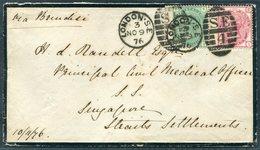 1876 GB 1s+3d Rate, London SE4 Duplex, Mourning Cover - Principal Civil Medical Officer, Singapore, Straits Settlements. - Storia Postale
