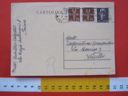 PC.3 ITALIA LUOGOTENENZA CARTOLINA POSTALE 1945 TURRITA 50 CENT + FR AGGIUNTI Da TORINO 09/06/1946 LOTTERIA SOLIDARIETA - Marcofilie