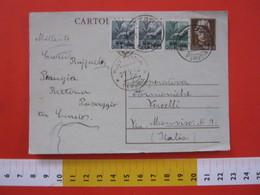PC.3 ITALIA LUOGOTENENZA CARTOLINA POSTALE 1945 TURRITA £. 1,20 CARTONCINO VERDE FR AGGIUNTI Da BETTONA PERUGIA 21/02/46 - Marcophilia