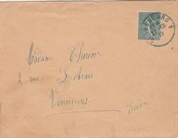 Yvert 130 Semeuse Lignée Lettre STRASBOURG 1 Bas Rhin 27/10/1919 à Vincennes - Francia