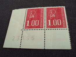 """1976- MARIANNE De Béquet , Neuf N°    1892  """" 1f Rouge"""" La Paire, Coin Daté - Net 3  -   Photo   1 - 1971-76 Marianne (Béquet)"""