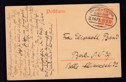 ERFURT-THEMAR BAHNPOST Z. 1873 17.9.17 Auf Ganzsache - Timbres