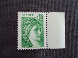 "1977- SABINE De Gandon , Neuf  - N° 1970 C  "" 0.80 Vert "" Sans Phosphore,G.T. Net  5 - 1971-76 Marianne (Béquet)"