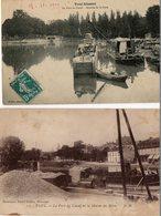 54. 2 CPA. TOUL.  Port Du Canal, Avenue De La Gare, De La Marne Au Rhin, Péniches. Scan Du Verso. - Hausboote