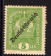AUSTRIA ÖSTERREICH 1918 1919 AUSTRIAN CROWN OF REPUBLIC ISSUE 5h MH - Nuovi