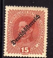 AUSTRIA ÖSTERREICH 1918 1919 KARL I OF REPUBLIC ISSUE 15h MH - Nuovi