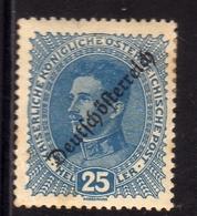 AUSTRIA ÖSTERREICH 1918 1919 KARL I OF REPUBLIC ISSUE 25h MH - Nuovi