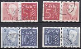 S173 – SUEDE – SWEDEN – 1957 – GUSTAV VI ADOLF – FULL PAIRS SET USED 33 € - Oblitérés