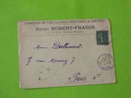 Vicq - Haute Marne - Cachet En Tirets - 26/11/1919 - Pour Paris RP 4 Distribution - Vins Alcools Spititueux Liqueurs - Marcophilie (Lettres)