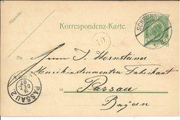 Ganzsache Schruns Nach Passau 1907 An Johann Hornsteiner (Geigen- Und Zitherbauer) - Cartas