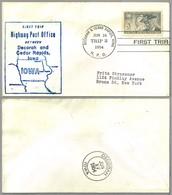 FIRST TRIP Highway Post Office: DECORAH & CEDAR RAPIDS, IOWA, 16 Junio 1954 - Correo Postal