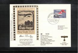 Switzerland / Schweiz 1984 Special Memorial Hans Grade  Flight Duebendorf - Wangen - Cartas
