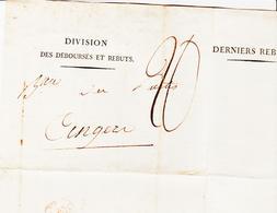 France, Du Service Des Déboursés Pour Angers( Tad Rouge ) Taxe 20 Sur Imprimé  1813 TB - Storia Postale