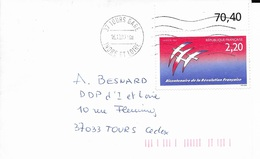 INDRE ET LOIRE 37   -  TOURS GARE     -  1989 -  BELLE FRAPPE - Postmark Collection (Covers)