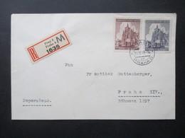 Böhmen Und Mähren Nr. 140 /141 Satzbrief Kurz Vor Ende Des 2.WK 14.4.1945 Einschreiben Ortsbrief Zweisprachiger R-Zettel - Briefe U. Dokumente